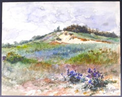 Paysage de Colline - Original Watercolor by Louis Adolphe Charle Crespin