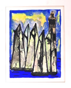 Lighthouse - Original Gouache by Valezy - 1955