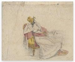 Portrait of a Woman - Original Drawing by Claudin Felix - 1900