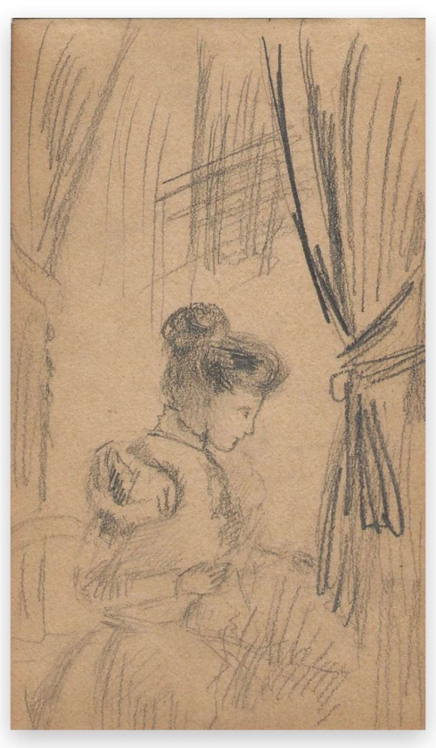 Portrait of a Woman - Original Charcoal Drawing  - Early 20th Century