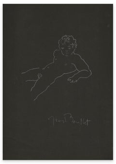 Man Lying Naked - Original Pencil by Jean Boullet - Mid-20th century