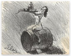 Naked Woman Sitting on Barrel-Pencil drawing by T. Van Elsen -Early 20th century