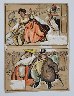 Daily Life - Original Drawing by Gabriele Galantara - 1906