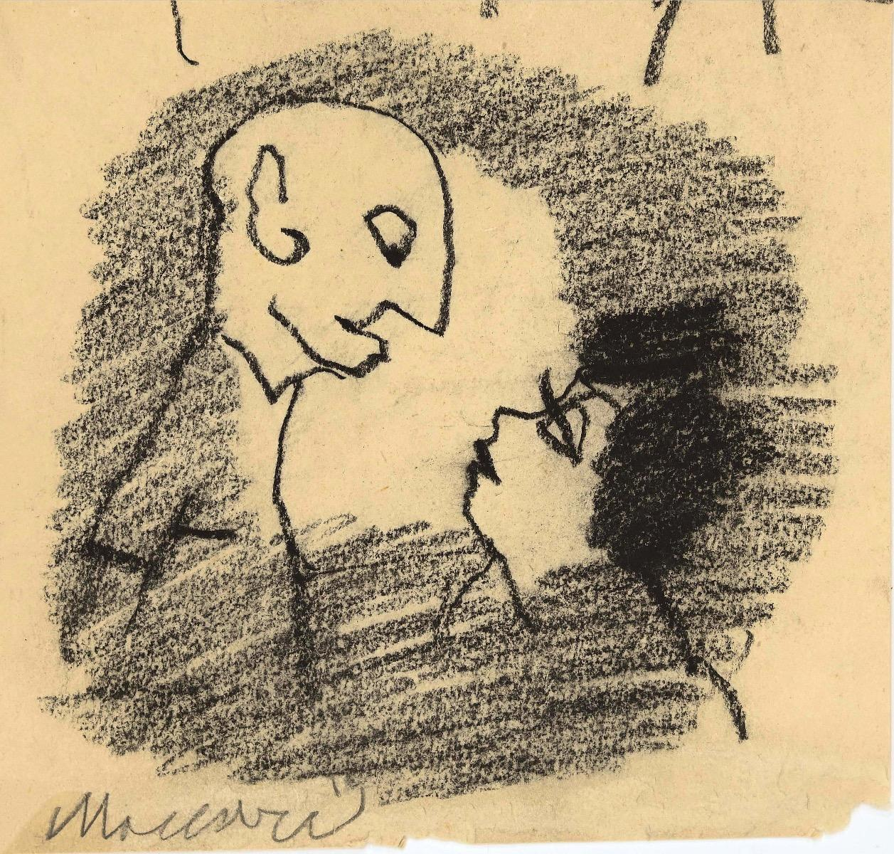 Couple - Original Charcoal by Mino Maccari - 1960s