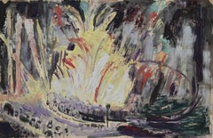 Fireworks at Night  - Original Drawing - 1940s