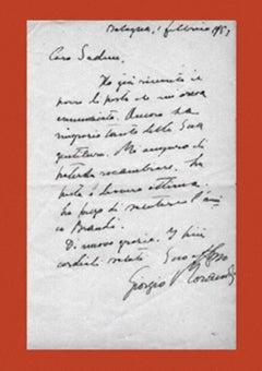 Letter of Thanks by Giorgio Morandi to Sadun Piero - 1953
