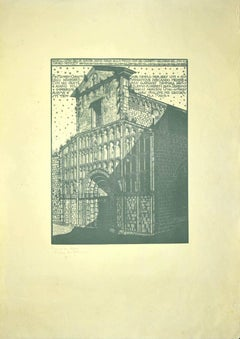 The Church - Original Woodcut by Bruno da Osimo - 1925