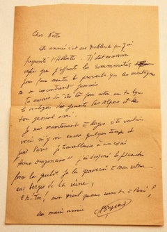 Letter by Camille Bryen to Nesto Jacometti - Mid-20th Century