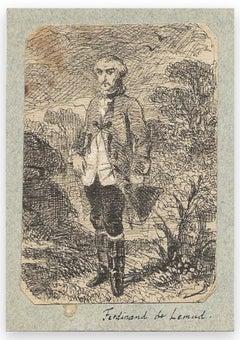 Man in Nature - Original Drawing by Ferdinand Lemud - 19th Century