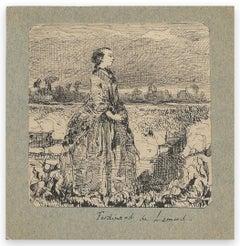 Woman in Nature - Original Drawing by Ferdinand Lemud - 19th Century