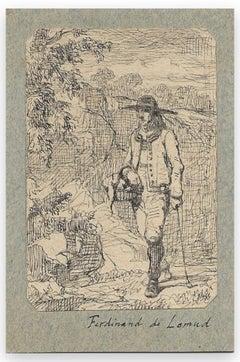 Man with a Basket - Original Drawing by Ferdinand Lemud - 19th Century