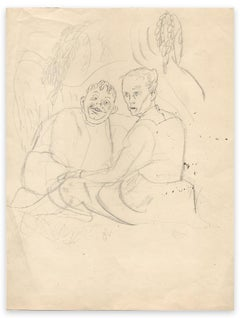 Couple - Original Ink Drawing by Chas Laborde - Early 20th Century
