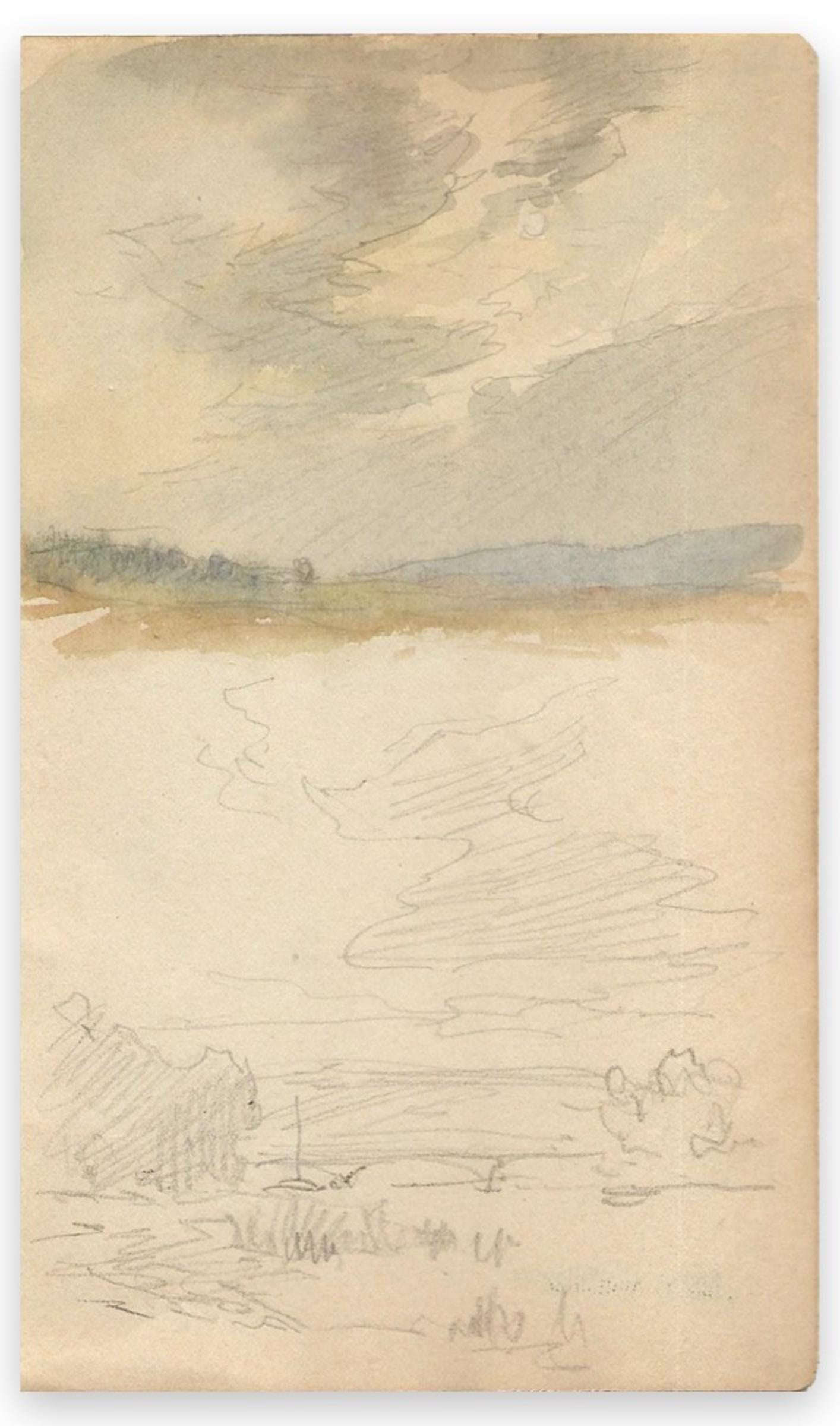 Landscape- Original Watercolor/Graphite by L.-C. Willaume - Early 20th Century