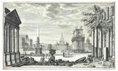 Cityscape - Original Etching by Ferdinando Galli Bibiena - 18th century