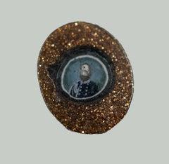 Portrait of Giuseppe Garibaldi - Original Glass Art  - 19th Century