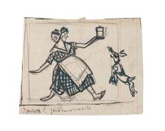 Satiric Scene for L'Asino - Original Drawing by G. Galantara -Early 20th Century