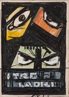 Three Robbers - Original Drawing by Gabriele Galantara - Early 20th century