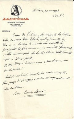 Carrà's New Projects in NY - Autograph Letter Signed - 1937