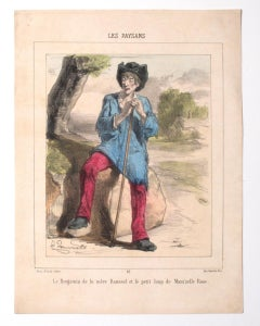 Peasants - Original Lithograph by J. Dorounette - 19th Century