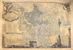 Map Of Rome - Original Etching by Giovanni Battista Nolli - 1848