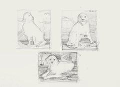 The Dogs - Original Pencil Drawing by Nataschia Tzarkova - 1990 ca