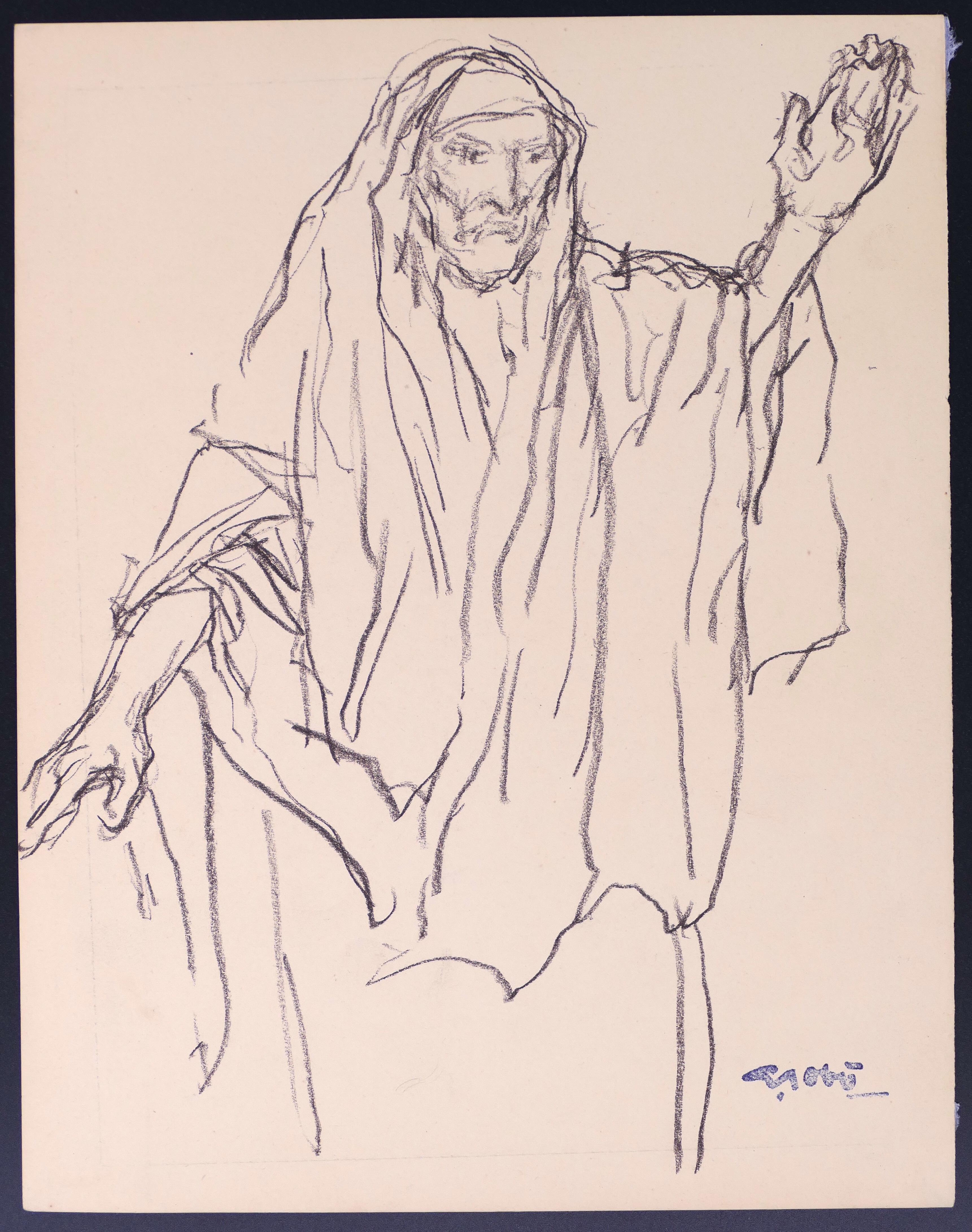 Homme Main Levée - Original Drawing by Georges Gôbo - Early 20th Century