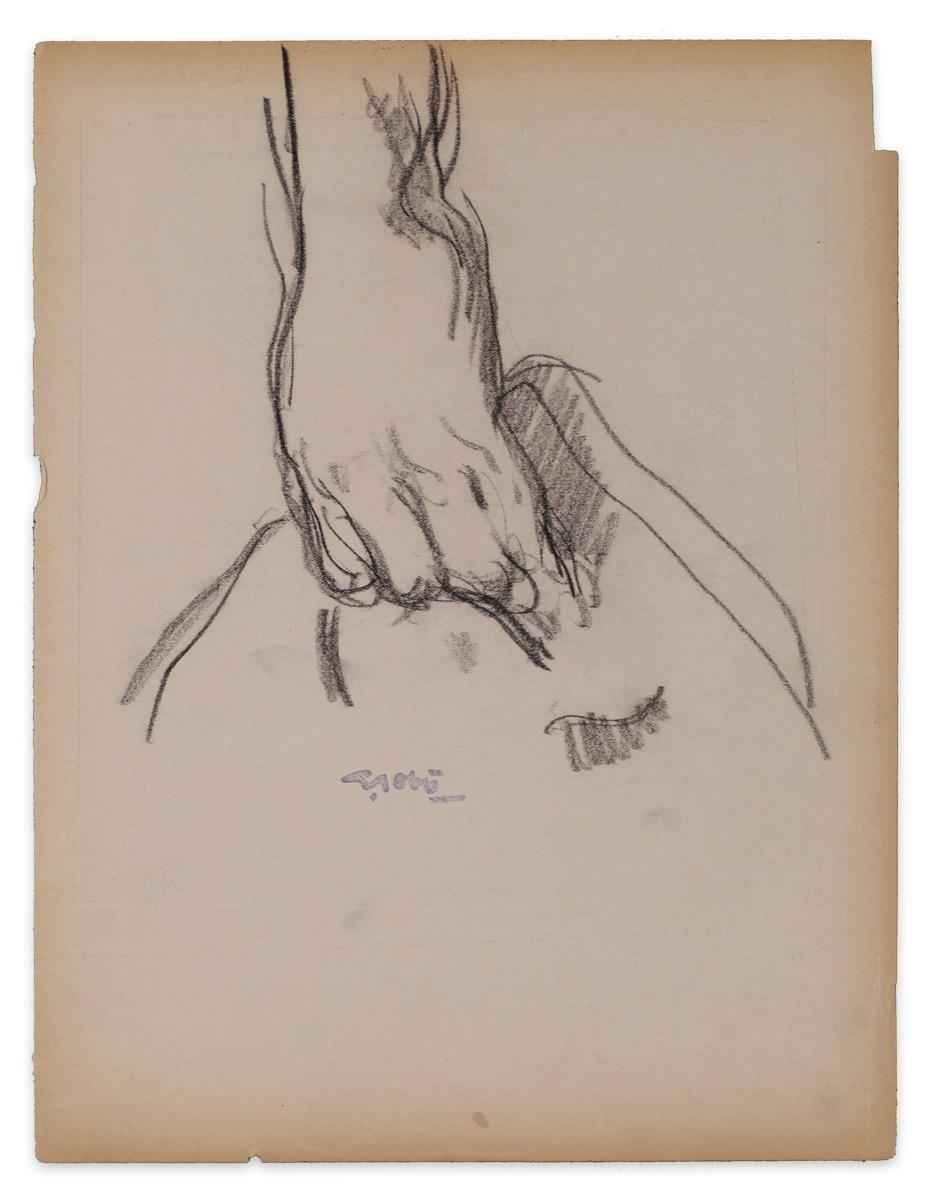 Study of a Hand Carrying a Bag - Drawing by G. Gôbo - Early 20th Century
