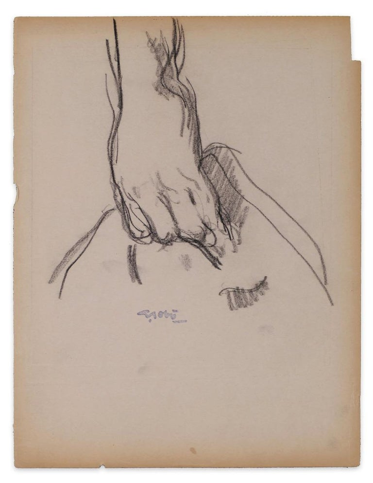 Georges Gobo Figurative Art - Study of a Hand Carrying a Bag - Drawing by G. Gôbo - Early 20th Century