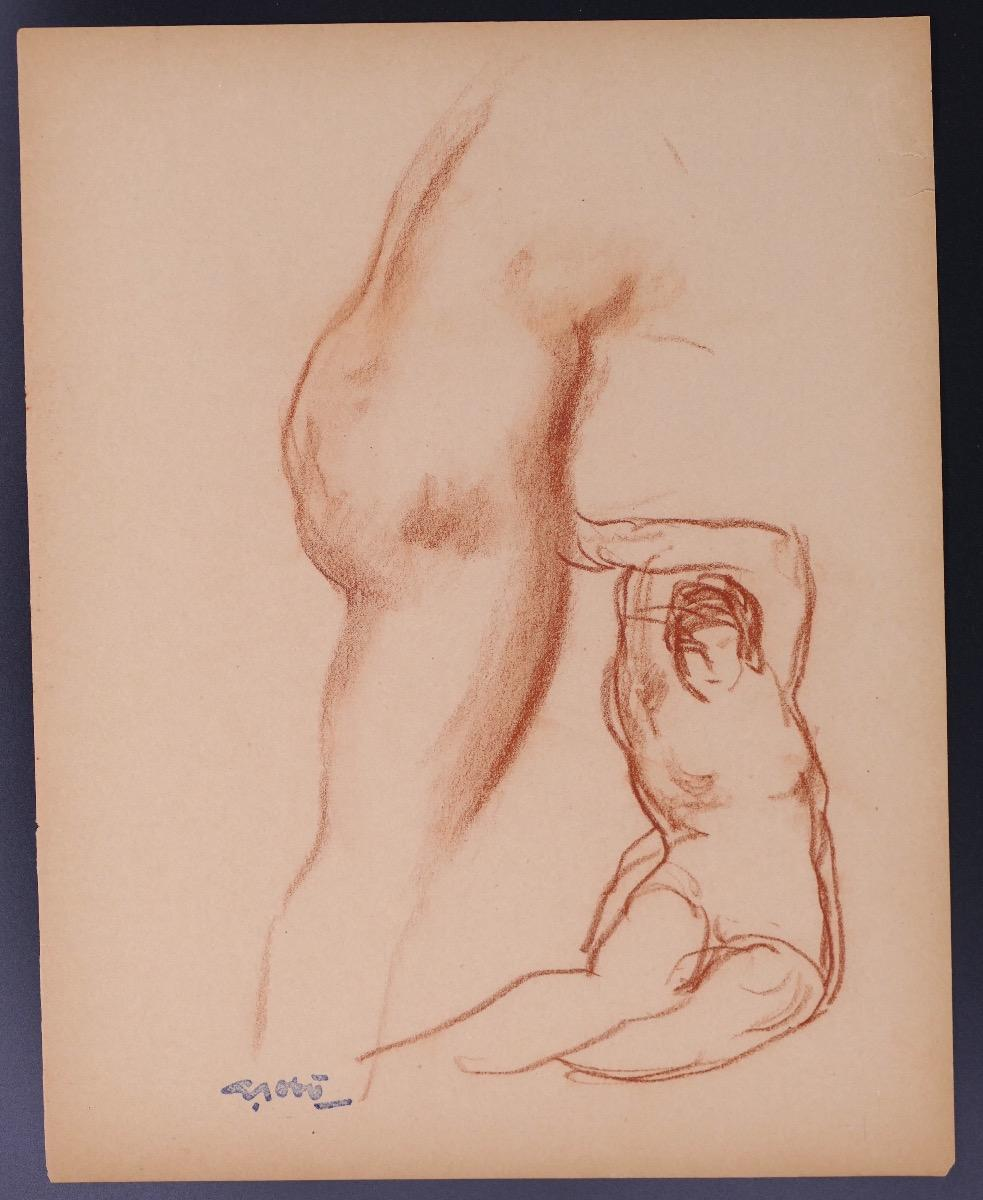 Study of a Seated Woman and Body Part in profile by Georges Gôbo - Early 1900