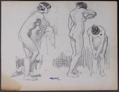 Three Studies of a Woman in Movement - Charcoal by G. Gôbo - Early 20th Century