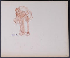 Woman Carrying the Burden - Original Drawing by G. Gôbo - Early 20th Century