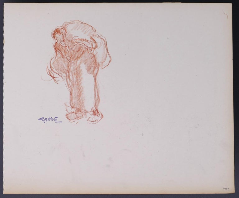 Georges Gobo Figurative Art - Woman Carrying the Burden - Original Drawing by G. Gôbo - Early 20th Century