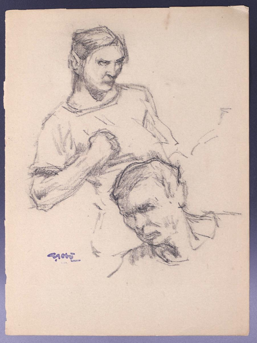 Male Bust and Male Head - Original Drawing by G. Gôbo - Early 20th Century
