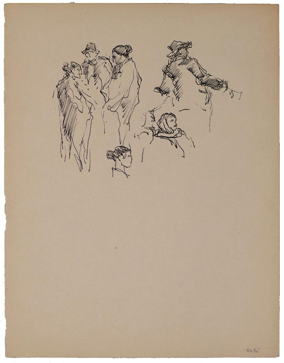 Six Standing Characters and Beads - Ink Drawing by Georges Gôbo - Early 1900