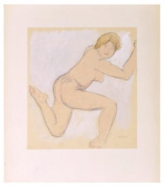 Naked Woman Lying Back - Original Watercolor by Anna Bass - Early 20th Century