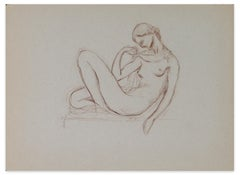 Lying Nude Woman - Original Pencil Drawing by Paul Véra - Early 20th Century