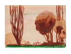 Landscape - Original Drawing by Jean-Raymond Delpech - Mid-20th century