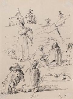 The Trip to Mexico - Original Pen Drawing by Eugène Berman  - 1947