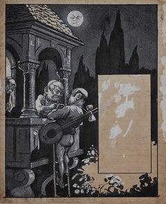"Sketch for the Cover of ""L'Asino"" - Original Mixed Media by G. Galantara - 1908"