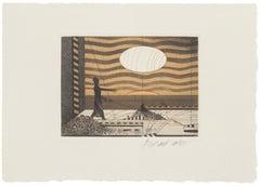Landscape - Original Etching on Paper by Assadour - 1970s