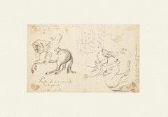 Battle - Original Pencil Drawing and Watercolor by J. P. Verdussen - 1750 ca.
