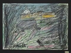Landscape - Original Oil Pastels on Paper by Nazareno Gattamelata - 1970s