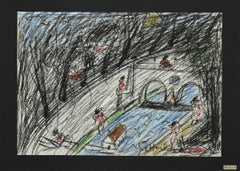 Bathers on the Tiber - Original Oil Pastels on Paper by N. Gattamelata - 1970s