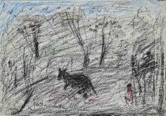 Landscape with Animals - Original Drawing by Nazareno Gattamelata - 1970s