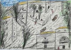 Roman Square - Original Artwork by Nazareno Gattamelata - 1970s