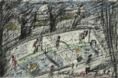 Roman Bridges on the Tiber - Original Ol Pastel by Nazareno Gattamelata - 1970s
