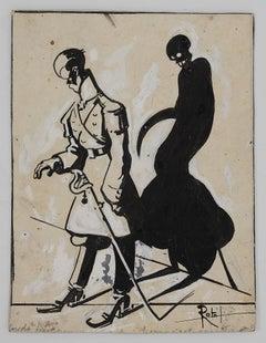 The Shadow - Original Artwork by Gabriele Galantara - Early 20th Century