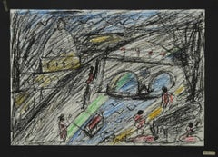 Saint Peter's Cathedral from the Tiber - Oil Pastel by N. Gattamelata - 1970s