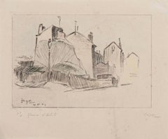 Parisian Houses - Original Etching by Jaques Berger - Mid-20th Century