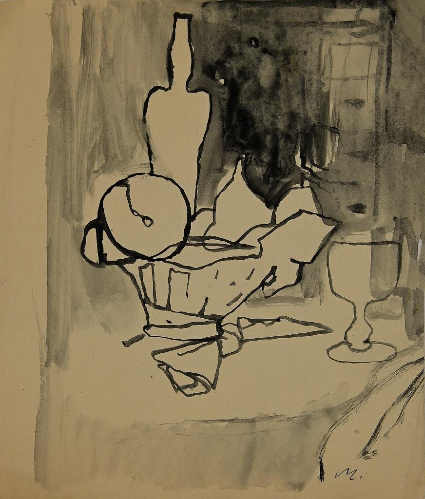 Still Life - Original Ink and Watercolor by Mino Maccari - 1955